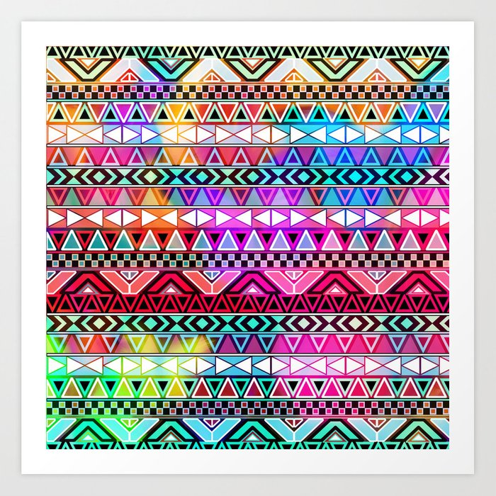 Neon Aztec | Purple Pink Neon Bright Andes Abstract Pattern Art Print