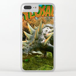 Ankylosaurus Dinosaur Park Vegetation and  Volcano Clear iPhone Case