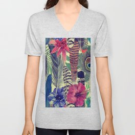 flowers and feathers Unisex V-Neck