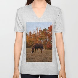 Horse Fall Days of Grazing Unisex V-Neck