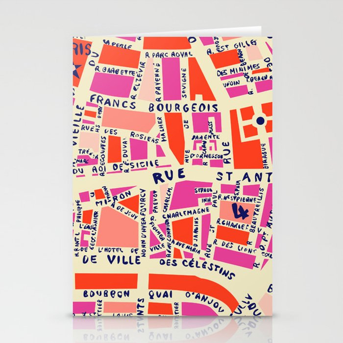 paris map pink Stationery Cards