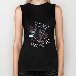 Stay Home Panther Tattoo Biker Tank