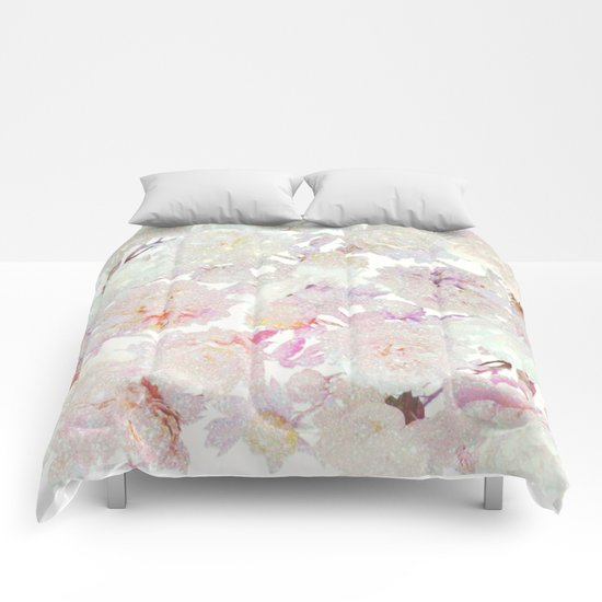 glittering pastel floral Comforters