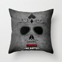 calavera Throw Pillows featuring Calavera by UrsusUnlimited