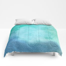 Blue Green Turquoise Watercolor Texture Comforters