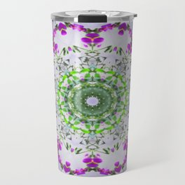 Purple Wildflower Kaleidoscope Art 5 Travel Mug