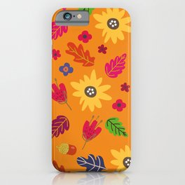 Bright Autumn Fall Leaves Flower Pattern iPhone Case
