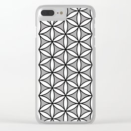 Flower of Life Pattern BW on Gray Clear iPhone Case