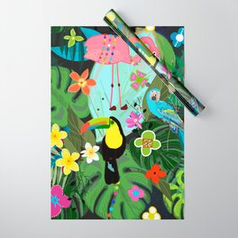Parrots, Toucan and Flamingo Tropical Birds Tropical Forest Pattern Wrapping Paper