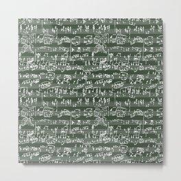 Hand Written Sheet Music // Timber Green Metal Print
