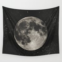 minimalist Wall Tapestries featuring The Moon  [Sans Type] by Heather Landis