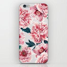 Pattern pink vintage peonies iPhone Skin