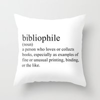 Throw Pillows featuring Bibliophile by bookwormboutique