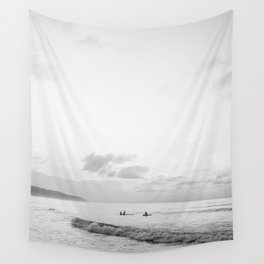 Once your board hits the water - Black and white surf travel photography print | Dominican republic Wall Tapestry