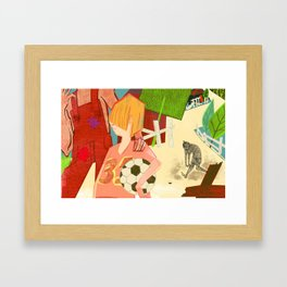 Brown Button Framed Art Print