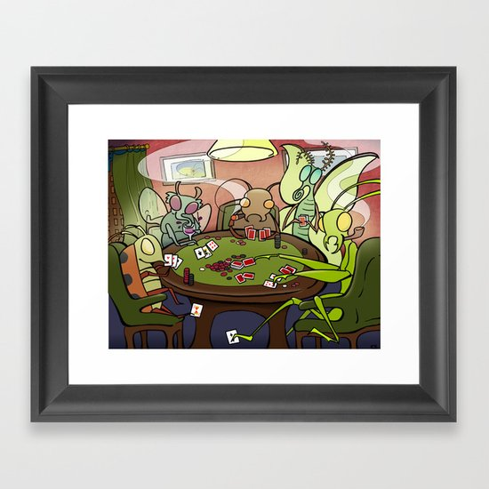 Bugs Playing Poker Framed Art Print