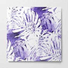 Palm Leaves IV purple & white abstract Metal Print