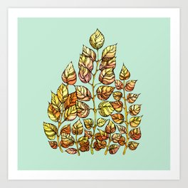 Hand drawn watercolor  golden leaves Art Print