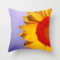 sunflowers Throw Pillows featuring sunflowers by mark ashkenazi