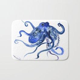 Octopus Design Blue Navy Blue Beach, cute ocotpus texture art Bath Mat