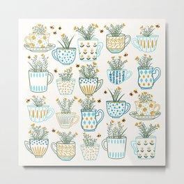 Tea Time // Tea Lovers // Botanical Bees Metal Print