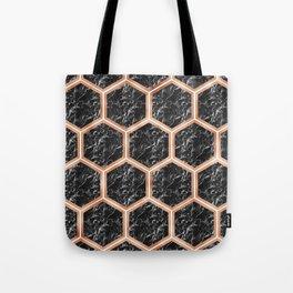 Black campari marble & copper honeycomb Tote Bag