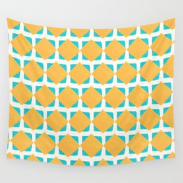 Teal and yellow squares pattern Wall Tapestry