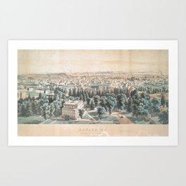 Vintage Pictorial Map of Newark NJ (1853) Art Print