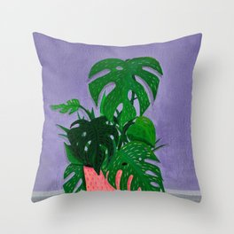 Monstera Painting Number One Throw Pillow