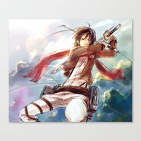 snk Canvas Prints featuring Snk-Mikasa by Gin-Uzumaki