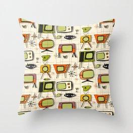 Retro TV Pearl Orange #spaceage Throw Pillow