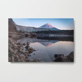 Mt. Fuji with a Touch of Rose Metal Print
