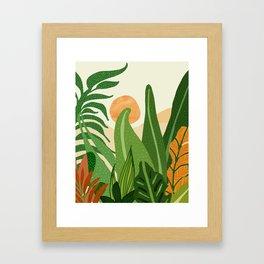 Summer In the Jungle / Contemporary Sunset Scene Framed Art Print