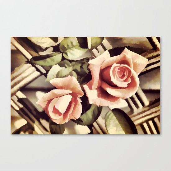Vintage Rose Garden - Painterly Canvas Print