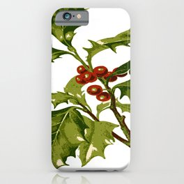 Holly Christmas Red Berry iPhone Case