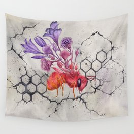 Save the Bees, Bee on Concrete | Watercolor Painting on Paper Wall Tapestry