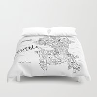 seattle Duvet Covers featuring Seattle Map by Claire Lordon