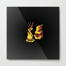 Samurai at campfire Metal Print