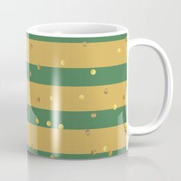 Christmas Golden confetti on Gold and Green Stripes Coffee Mug