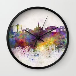 Nicosia skyline in watercolor background Wall Clock