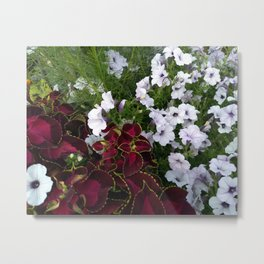 Burgundy & White Flowers 001 Metal Print