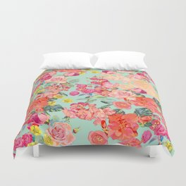 Antique Floral Print in Coral and Mint Tones Duvet Cover