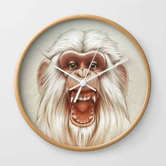 The White Angry Monkey Wall Clock
