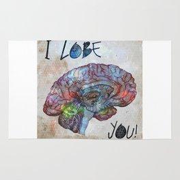 Brain & Galaxy, I lobe you print Rug