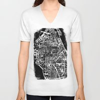 new york map V-neck T-shirts featuring NEW YORK CITY MAP by Laura Ann