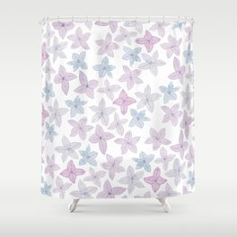 Watercolor hand painted lavender lilac blue floral Shower Curtain
