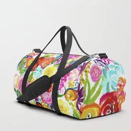 Bright Colorful Floral painting Duffle Bag