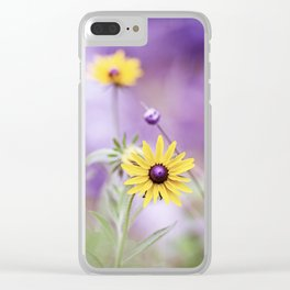 Purple Yellow Flower Photography, Purple Gold Green Nature Art Print, Daisy Floral Photo Clear iPhone Case