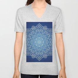 Mandala dark blue Unisex V-Neck