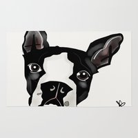 boston terrier Area & Throw Rugs featuring Boston Terrier by transFIGure